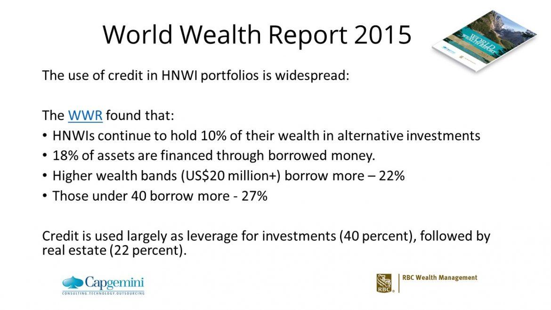 HNW lending - World Wealth report