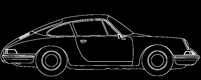 Outline graphic of a classic Porsche sports car.
