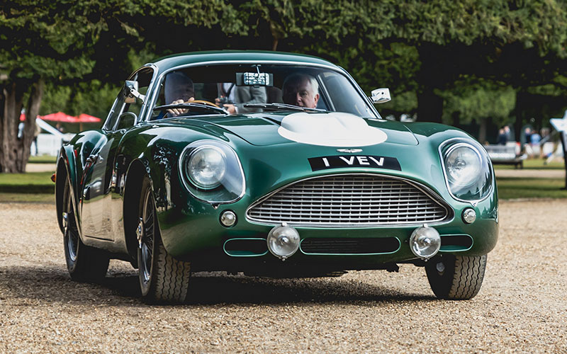 Front view of a stunning classic car, the Le Mans Aston Martin DB4 GT Zagato with racing green paintwork.