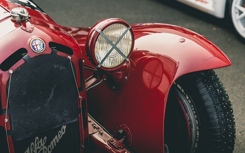 The front of a classic car, a restored Alfa Romeo, an example of vintage car finance options.